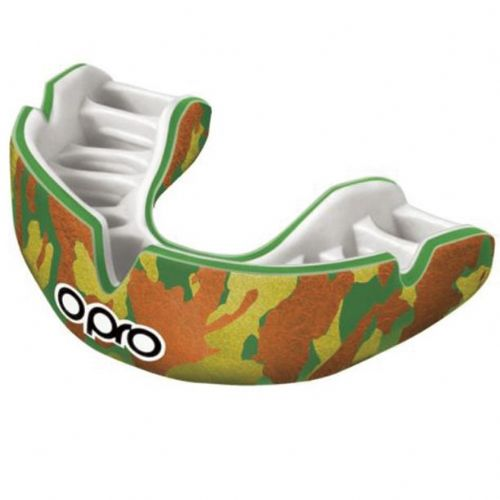 Opro Power-Fit Camo Mouthguard - Green/Orange-Gold